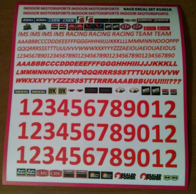 IMS red sponsor decal set cut peel stick high quality vinyl - Product Image